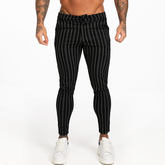 New Autumn Winter Mens Chinos Slim Fit Black Chinos Trousers for Men Stretchy Pants Thick Casual Ankle Tight Fit Street zm385