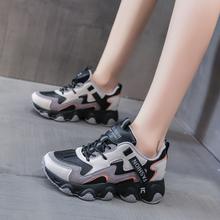 Nowe damskie trampki damskie Chunky wulkanizowane damskie komfortowe damskie oddychające buty damskie grube dno 2020 modne obuwie tanie tanio CINESSD CN (pochodzenie) Płytkie Patchwork Syntetyczny latex Wiosna jesień Med (3 cm-5 cm) Lace-up Pasuje prawda na wymiar weź swój normalny rozmiar