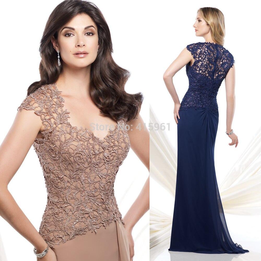 2018 New Arrival Brown Navy Blue Plus Size Mother Of The Bride Dresses Cap Sleeve Mermaid Mother Dress Vestido De Chiffon