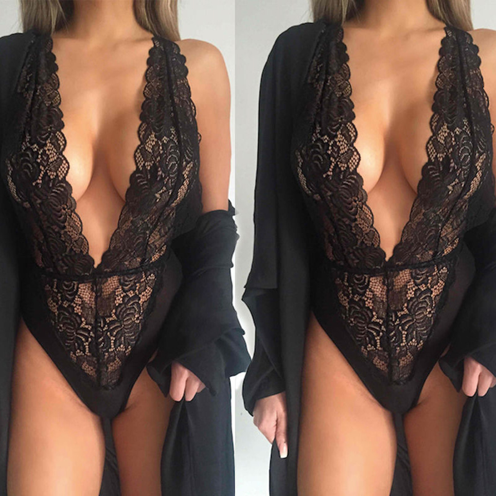 Women Black Perspective Erotic Lingerie V-neck Spandex Sexy Lingerie Costumes
