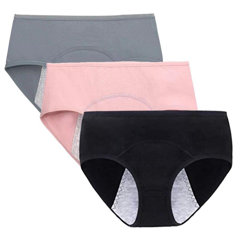 3 Pcs Menstrual Panties Women Leak Proof Period Briefs Ma'am Sexy Physiology Cotton Underwear Seamless Lingerie