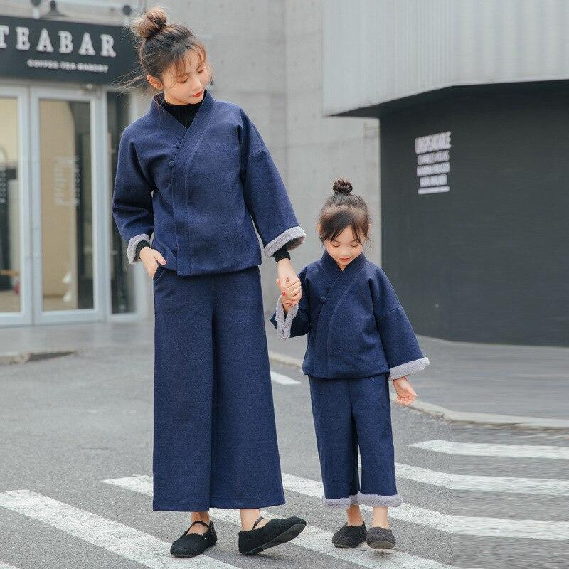 WLG/комплект из 2 предметов; Сезон Зима; Одинаковая одежда для семьи; комплект из плотной рубашки и штанов для мамы и дочки; цвет бежевый