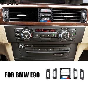 Image 1 - Adesivi decorativi per la copertura del telaio di uscita del condizionatore daria centrale per interni in fibra di carbonio per BMW E90 E92 E93 serie 3 2005 2012