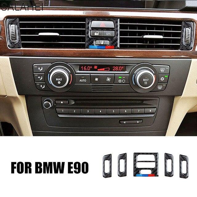 Adesivi decorativi per la copertura del telaio di uscita del condizionatore daria centrale per interni in fibra di carbonio per BMW E90 E92 E93 serie 3 2005 2012