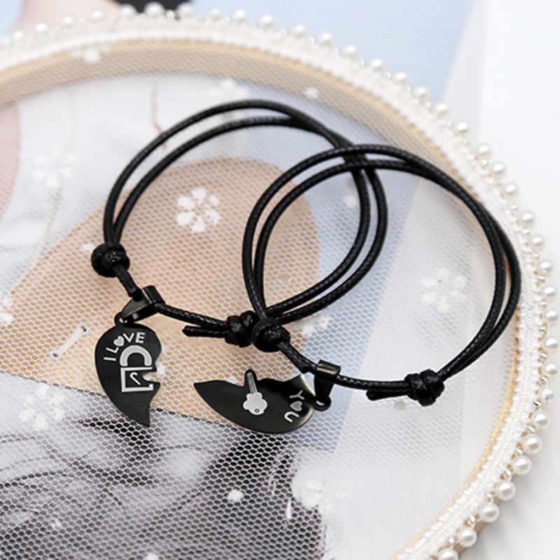 2 unids/set par de pulseras para las mujeres y los hombres de acero inoxidable negro corazón dos mitades emparejado pulsera de joyería de moda