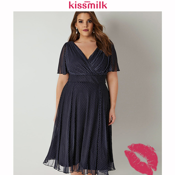 Kissmilk Plus Size Women Office Lady Casual Dot Print Deep V Neck Short Sleeve High Waist  Wrinkle Hem A Line Midi Dress 1