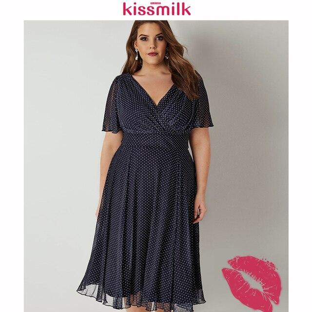 Kissmilk Plus Size Women Office Lady Casual Dot Print Deep V Neck Short Sleeve High Waist  Wrinkle Hem A Line Midi Dress 1