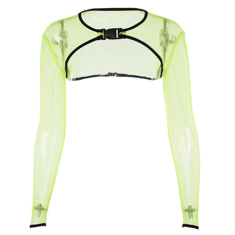 Women Long Sleeve Sexy Hollow Out Gird Sheer Mesh Crop Top Summer Bright Fluorescent T-Shirt Buckled Skinny Beach Party Clubwear