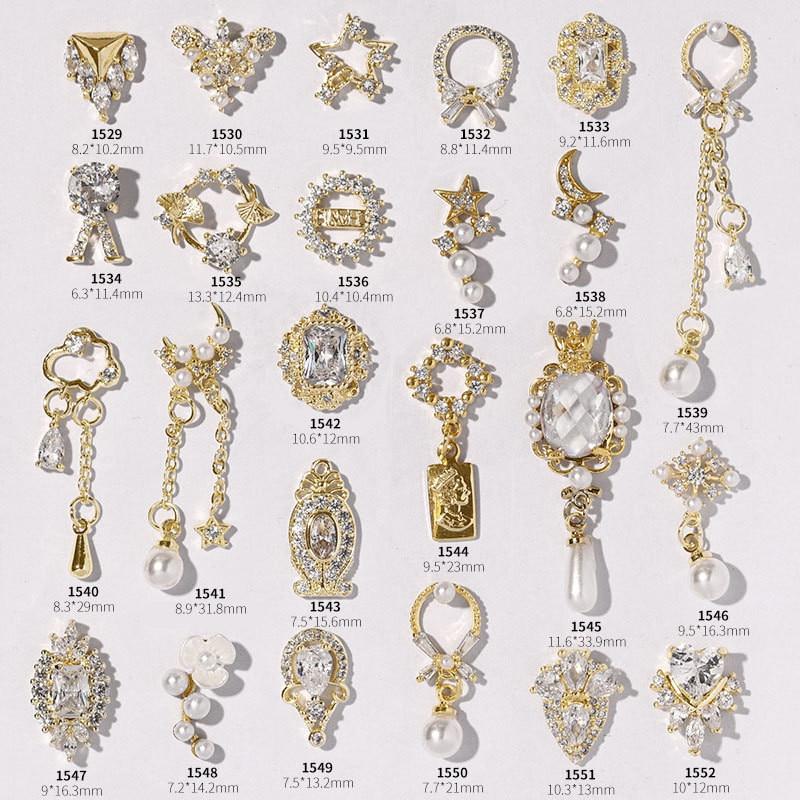 Latest 1 Pcs Alloy Zircon Nail Art Decoration Luxury Zircon Rhinestone Tassel / Heart / Wing Nail Jewelry Nail Art Accessories