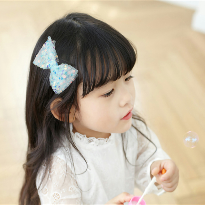 Princess Kids Mesh Sequin Bowknot Hair Clips Little Girls Candy Color Princess Headdress Hair Accessories Barrette Baby Hairpins in Hair Accessories from Mother Kids
