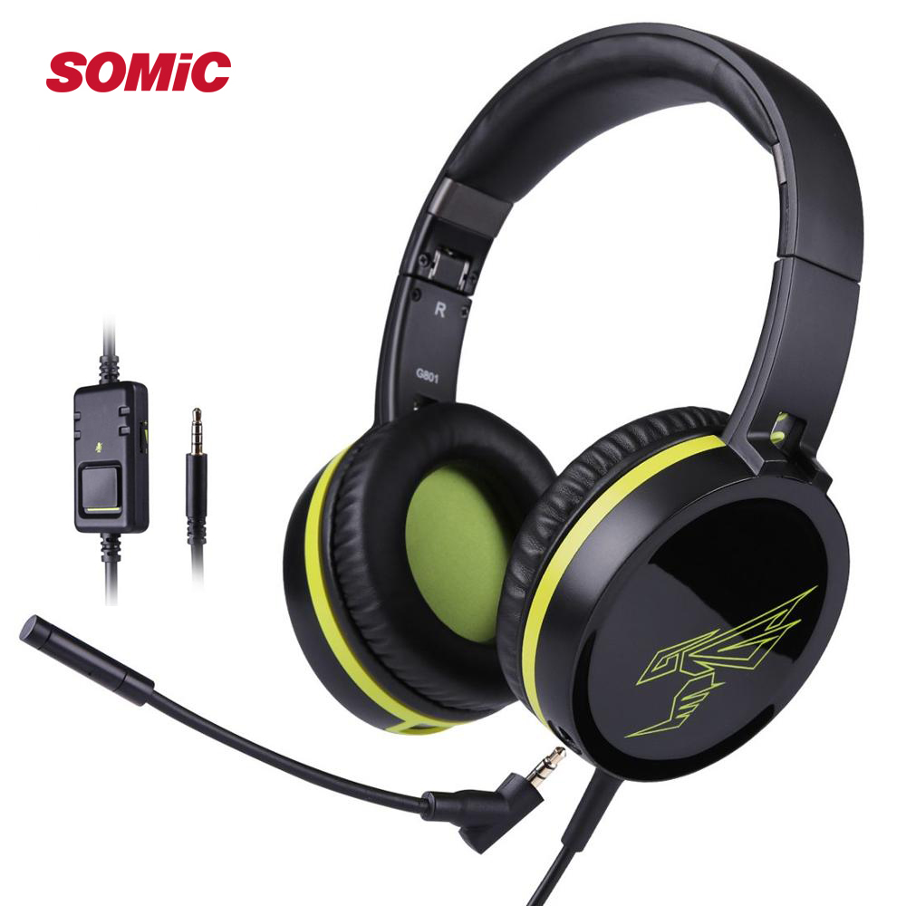 SOMIC Gaming Headphone With Microphone for PS4 Foldable Wired Stereo Headset with Detachable Mic 3.5mm for Laptop phone G801 image