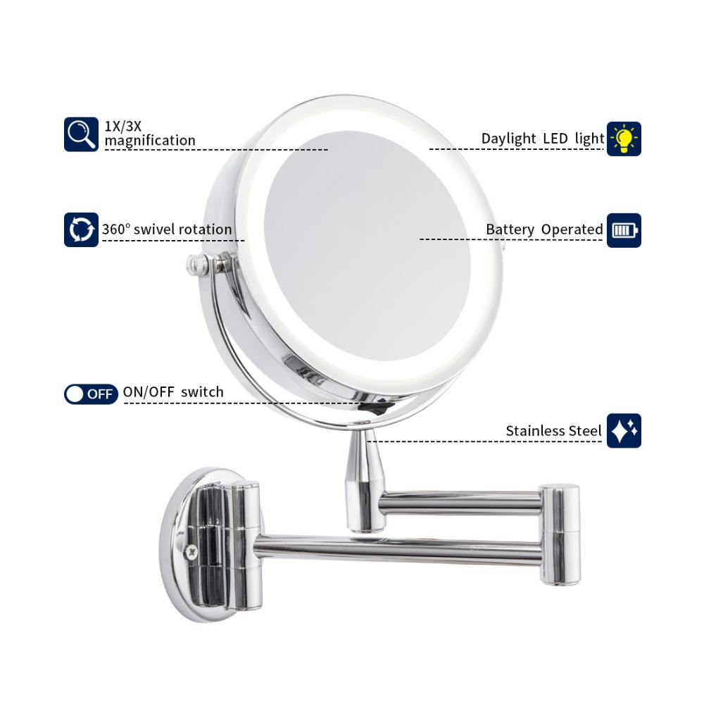 GLAMO Bath Mirror Led Cosmetic Mirror 1X/3X Magnification Wall Mounted Adjustable Makeup Mirror Dual Arm Extend 2-Face Bathroom Mirror 4