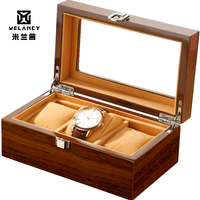 3 Grids Retro Red Wooden Watch Display Case Durable Packaging Holder Jewelry Collection Storage Watch Organizer Box Casket