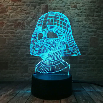 Cool LED Luminous Nightlight 7 Colourful Changing Light Black Knight Star Wars Darth Vader Mask action & toy figures