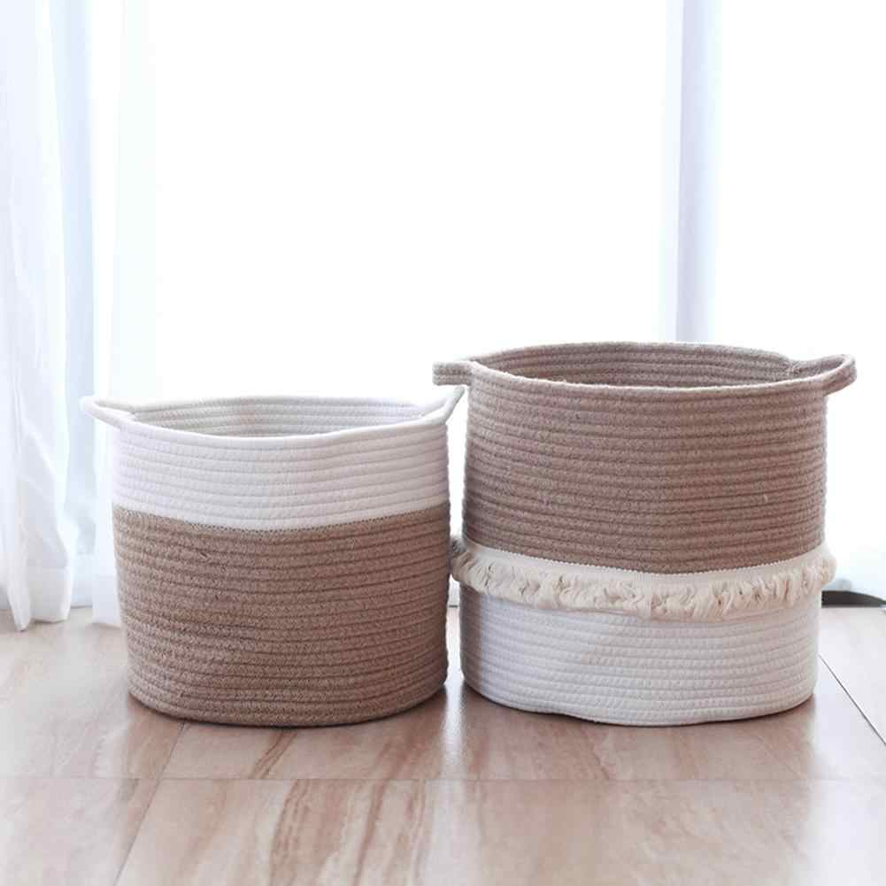 Woven Storage Baskets Cotton Woven Rope Foldable Home Storage Container Beautiful Decor For Nursery Toys Blankets