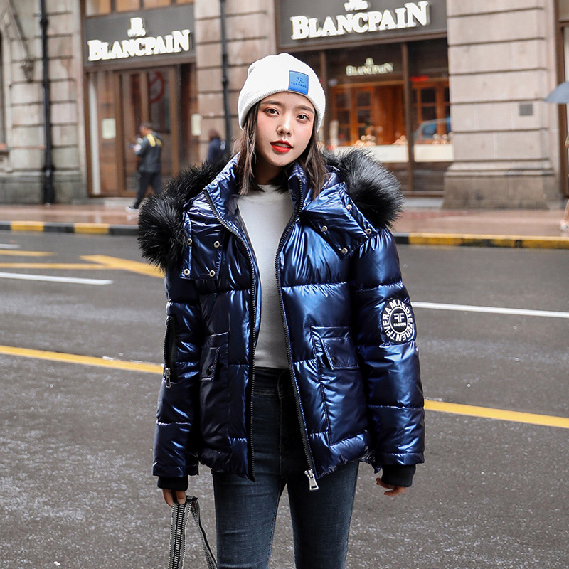 Autumn Winter Women's Short Glossy Down Cotton Hooded Parkas With Big Fur Collar Casual Pearlescent Leather Thick Winter Jacket