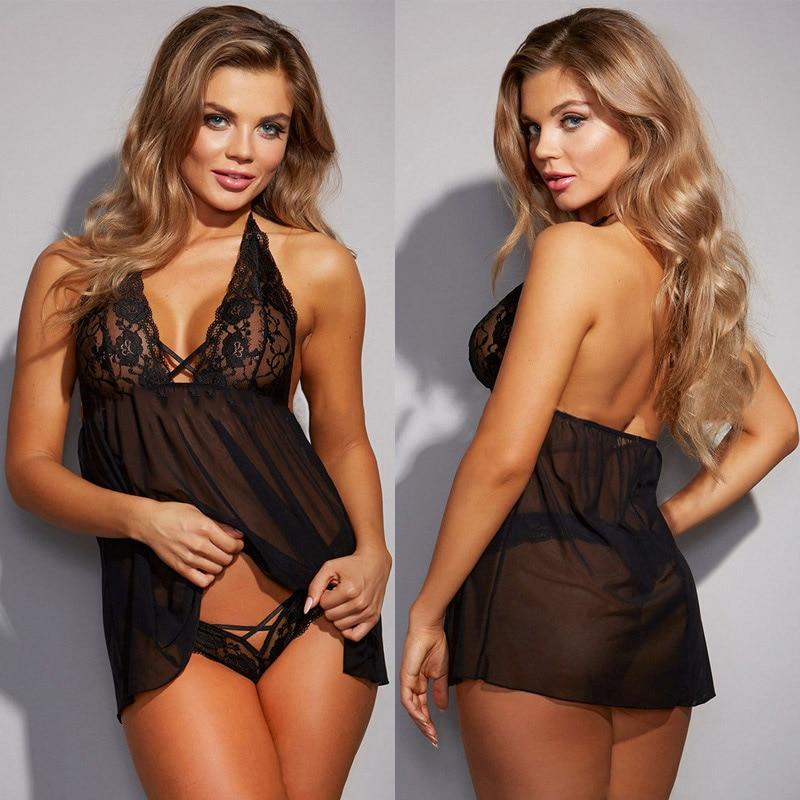 New Large Size Women'S Perspective Mesh Sexy Pajamas Lace Hanging Neck Underwear S M L XL XXL XXXL Europe And America Sleepwear