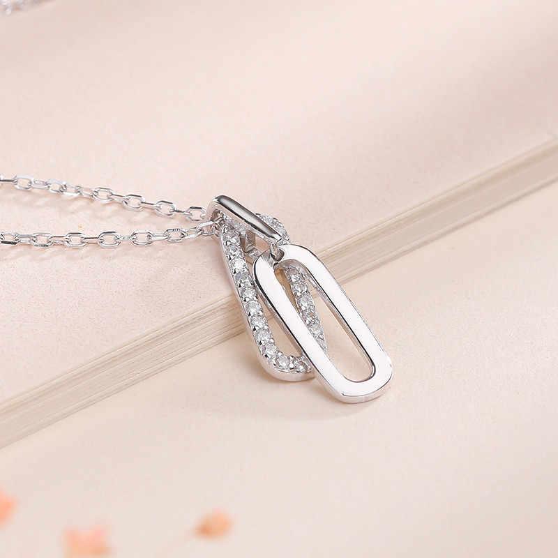 Haute qualité s925 en argent sterling simple ovale double anneau boucle pendentif de luxe designer bijoux dames necklace6-DH7159 de mariage
