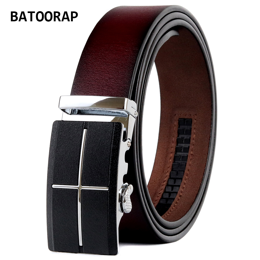 BATOORAP Fashion Brand 2021 Mens Genuine Leather Belt Texture Matte Buckle Automatic Wine Red Trouser Waist Strap Belt BA-FGZ004