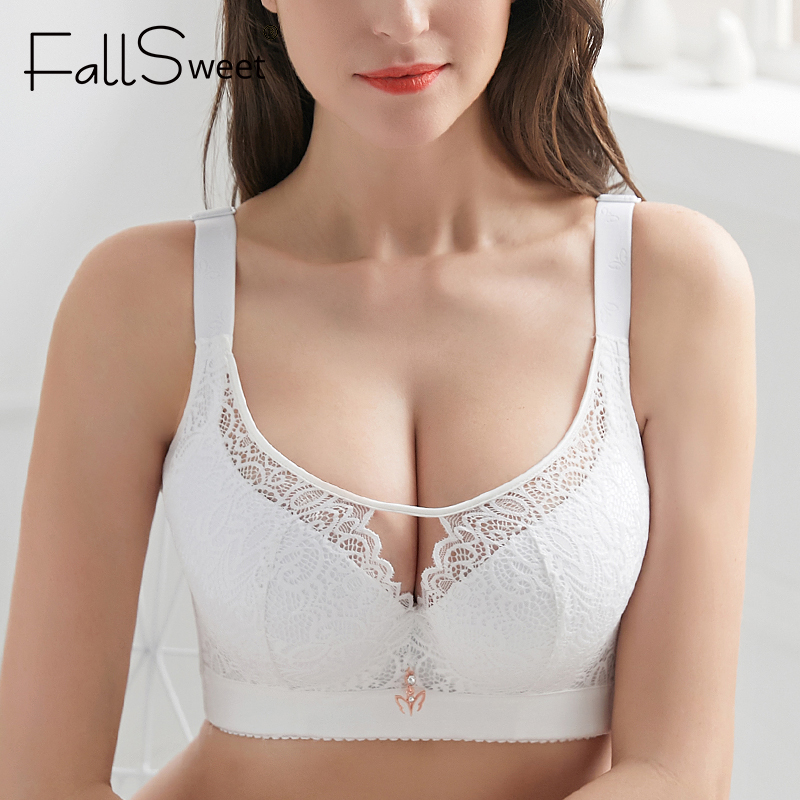 FallSweet Plus Size Bras For Women Full Coverage Push Up Bra Sexy Lace Bralette C D E Cup Ladies Brassiere Femme