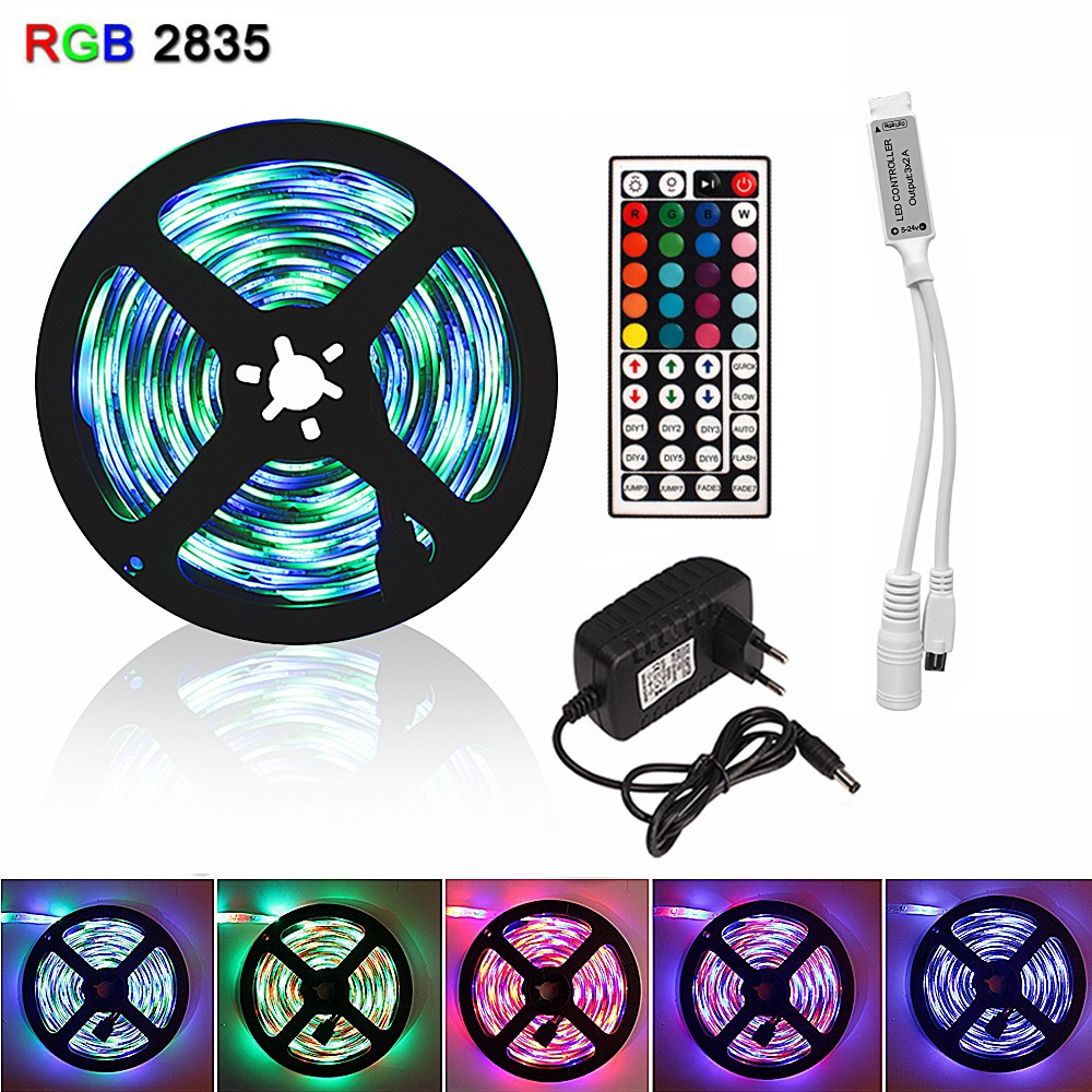 5M 2835 Flexible RGB Led Strip Diode Tape Ribbon Tiras Fita Led Light Strips DC 12V Waterproof With Remote Controller Adapter EU