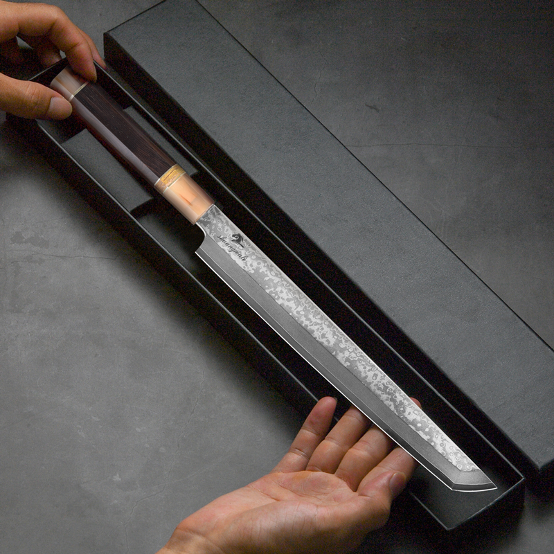 11 Inch Japanese Sashimi Knife 33 Layer Damascus Steel Chef Filleting Knives Cleaver Salmon Sushi Knife With Buffalo Horn Handle 4