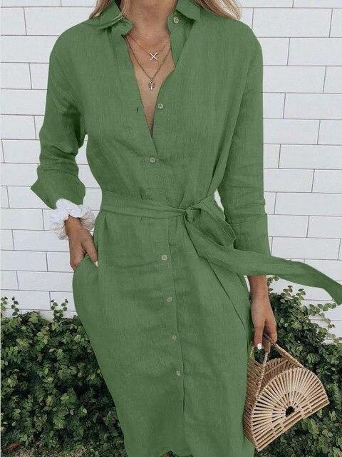 Размера плюс 5xl зеленый/черный льняное платье для женщин с поясом длинные рукава на пуговицах с длинным платье-футболка 2020 халат ночная соро...