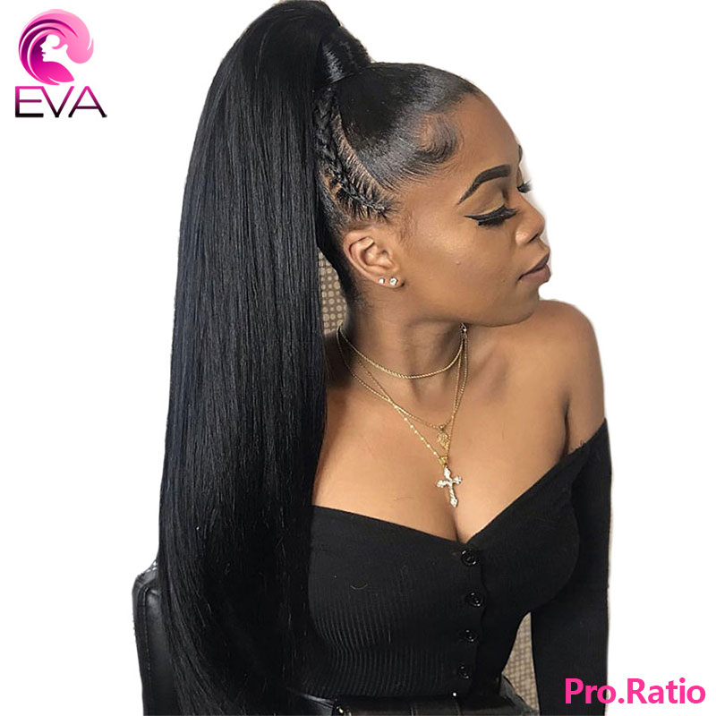 Eva 360 Lace Frontal Wigs Pre Plucked With Baby Hair Brazilian Remy Bleached Knots 180% Straight Human Hair Wigs For Black Women