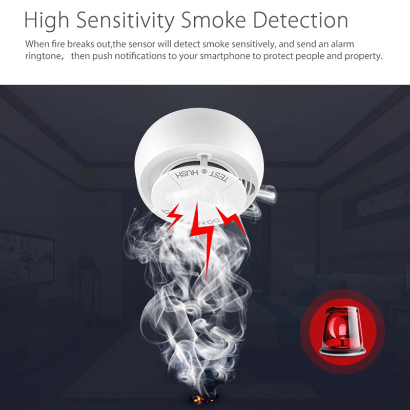 Smart Fire Alarm Smoke Sensor Tuya Smart Home Tuya WiFi Smoke Detector Networking Alarm Smart Home Security