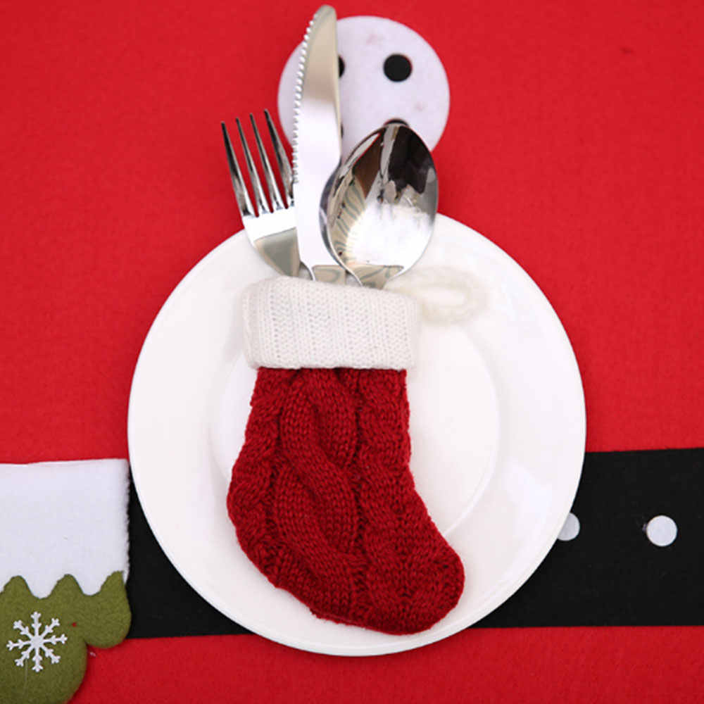 Ресторан Вилка в рождественском стиле крышка полиэстер трикотажные носки украшения Обеденный нож и вилка крышка портативный карман Рождество креативный