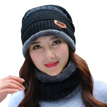 New Winter Unisex Hat Caps Slouch Warm Festival Cap Solid Color Wool Bonnet Hats 2pcs Knitted + Muffler Snowflake