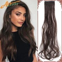 Allaosify 2 заколки для наращивания прямые волосы черные коричневые