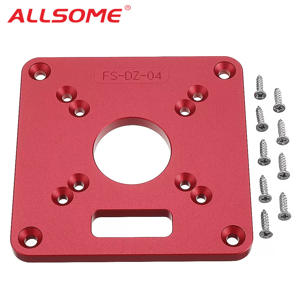 ALLSOME 120x120mm Woodworking  Aluminum Alloy Router Table Insert Plate Mounting Base Plate For MAKITA RT0700C WORX Aoben HT2801