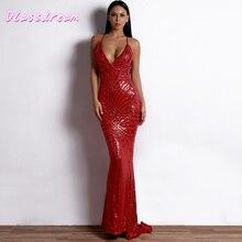 Wine Red Sequined Evening Dresses Luxury Mermaid Sexy V-neck Sleeveless Backless Spaghetti Straps Criss-Cross Back Sweep Train red spaghetti v neck sleeveless bodysuits