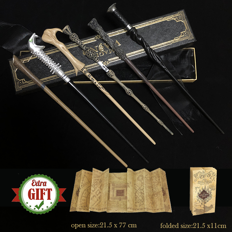 32 Kinds of Metal Core Potters Magic Wands Cosplay Dumbledore Voldemorte Ron Hermione Magical Wand Harried Ribbon Box with Gifts