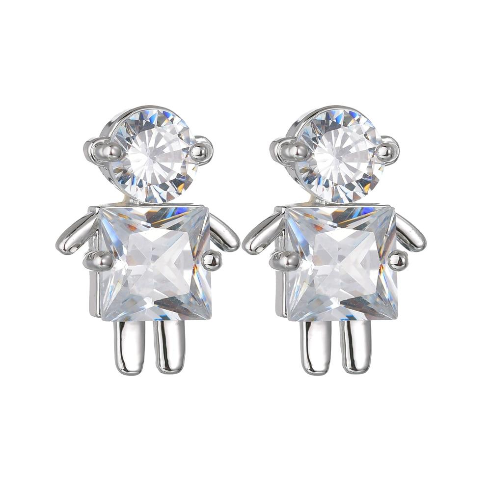 Luxury AAA Zircon Crystal Earrings Creative Design Robot For Women Silver 925 Jewelry Oorbellen Brincos