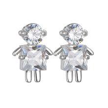 Luxury AAA Zircon Crystal Earrings Creative Design Robot Earrings For Women Silver 925 Jewelry Oorbellen Brincos luxury big c moon stars real pearl earrings monaco design full crystal aaa micro zircon pure solid 925 sterling silver earrings