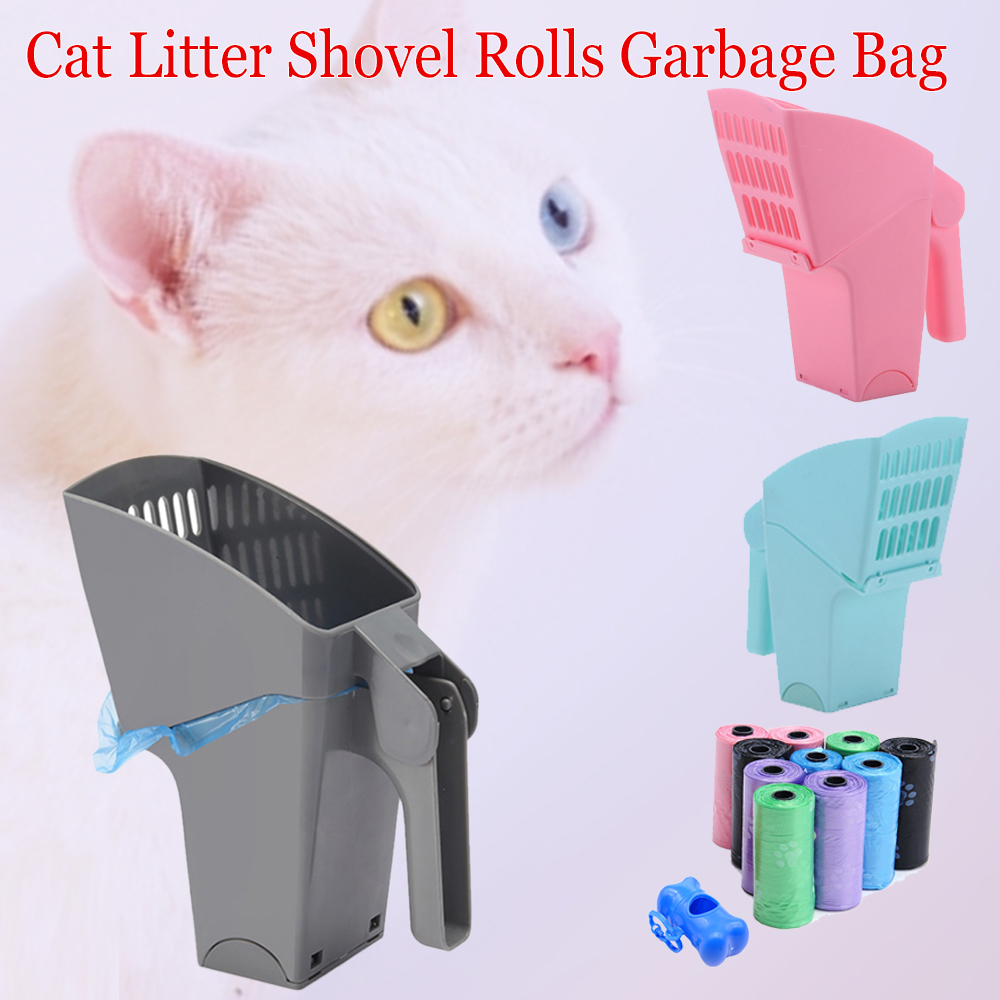 Cat Litter Shovel Pet Cleanning Tool Plastic Products Toilet For Cats Food Spoons Plastic Cat Litter Sifter Scoop And Bag 1