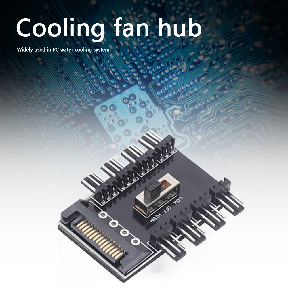 PC SATA 1 to 8 Cooler Cooling Fan Hub 3Pin 12V Splitter Power Socket PCB Adapter 2 Level Speed Controller for Computer Laptop