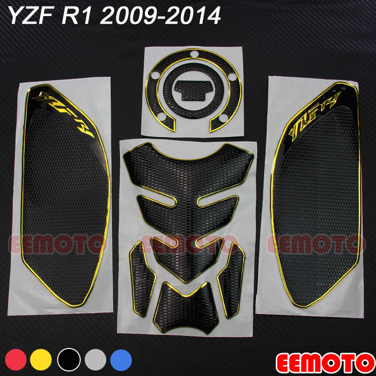 Motorcycle Tank Pad Protector <font><b>Sticker</b></font> Decals Gas Fuel Knee Grip Traction Side for <font><b>YAMAHA</b></font> YZF <font><b>R1</b></font> YZF-<font><b>R1</b></font> 2009 2010 2011 2012-2014 image