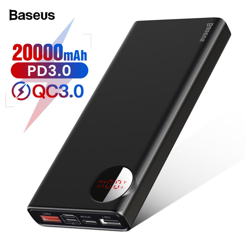 Baseus 20000mAh Power Bank Quick Charge 3.0 USB Type C PD Powerbank For IPhone Xiaomi Huawei External Battery Charger Poverbank
