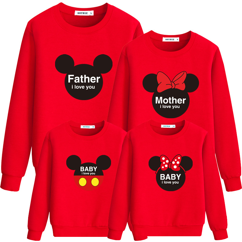 6 Colors Cotton Printing Long Sleeve Father Mom Son Pullover Sweater Matching Mother Daughter Clothes Family Clothing CL131