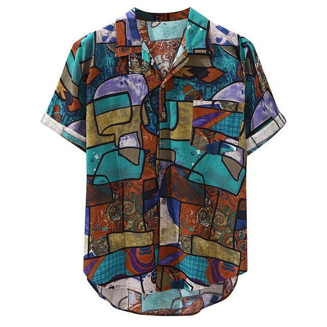 Mens Hawaiian Shirt Pocket Short Sleeve Round Loose Shirts Print Linen Blouse Vintage Plus Size Shirt Streetwear Summer Shirts