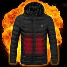 Электрический жилет с подогревом, куртки, USB, электрическое отопление, с капюшоном, хлопковое пальто, для кемпинга, туризма, охоты, теплая зим...