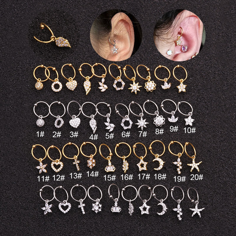 20 Styles Cz Pendant Dangle Hoop Cartilage Earring Helix Tragus Rook Lobe Ear Piercing Jewelry Choose Your Finish