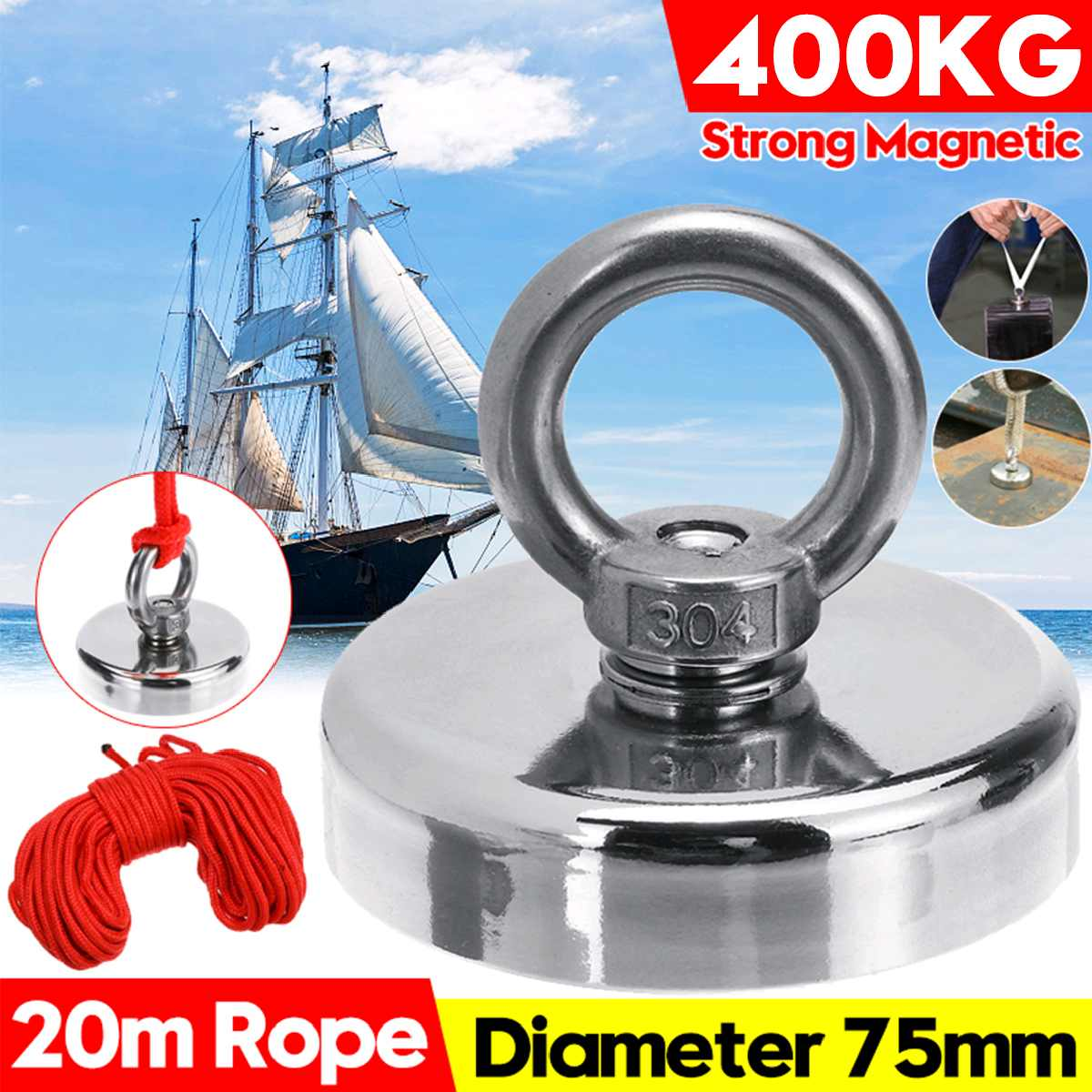 400KG Super Strong Magnet Pot Fishing Magnets Salvage Fishing Hook Magnets Strongest Permanent Powerful Magnetic With 20M Rope