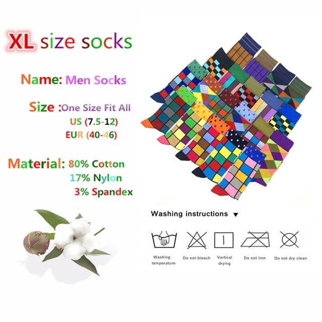 Colorful Autumn And Winter cotton socks geometric lattice classic business casual happy socks men 5