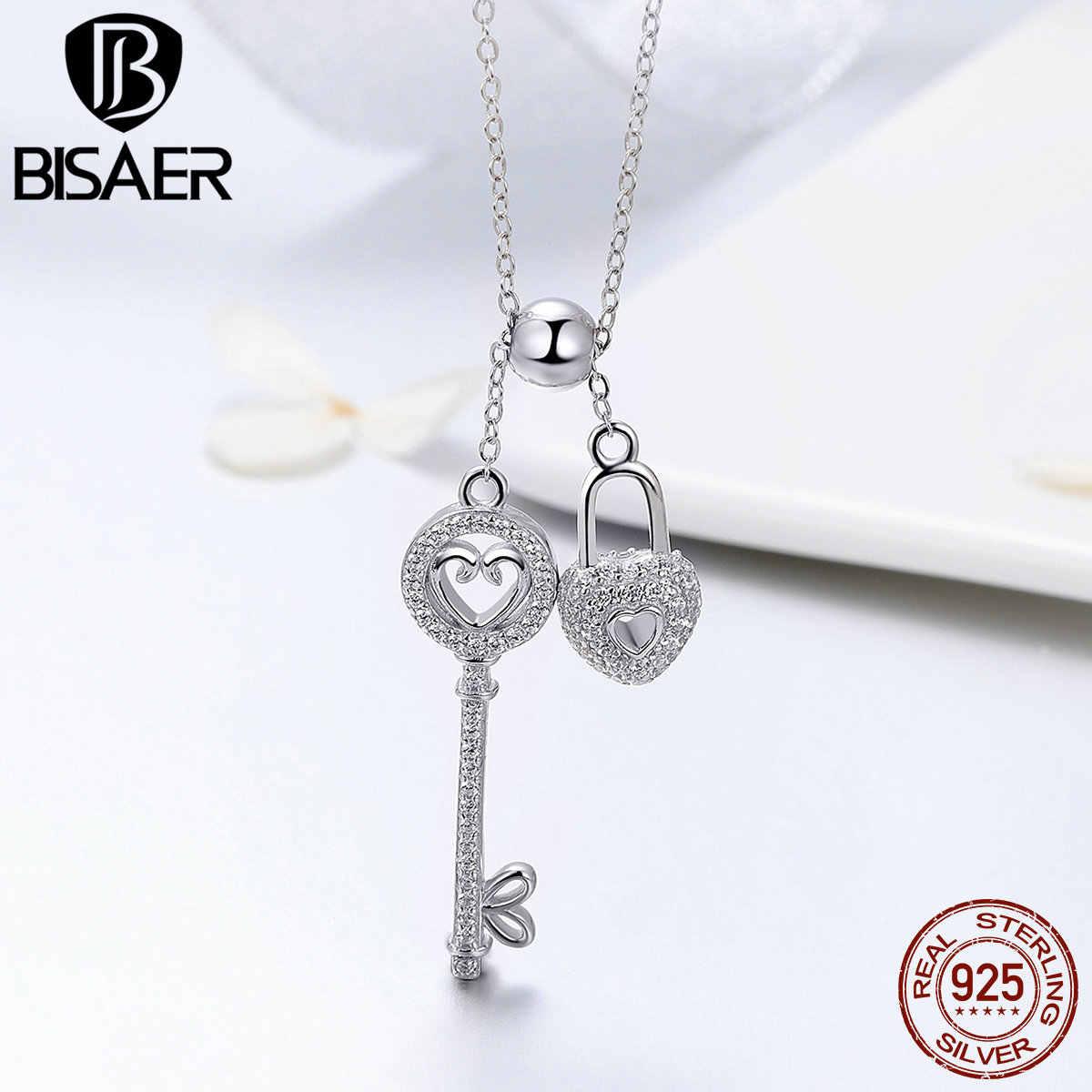 BISAER oryginalna 925 Sterling Silver klucz blokady serca naszyjnik łańcuch naszyjnik dla kobiet prezent biżuteria ślubna HSN290