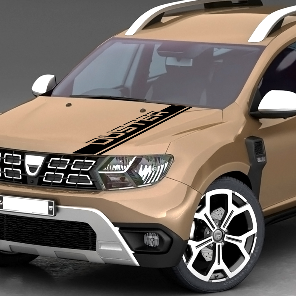 Car Hood Stickers For Dacia Renault Duster Free Shipping Auto Sport Stripes Car Styling Decor Auto Vinyl Decals Car Accessories