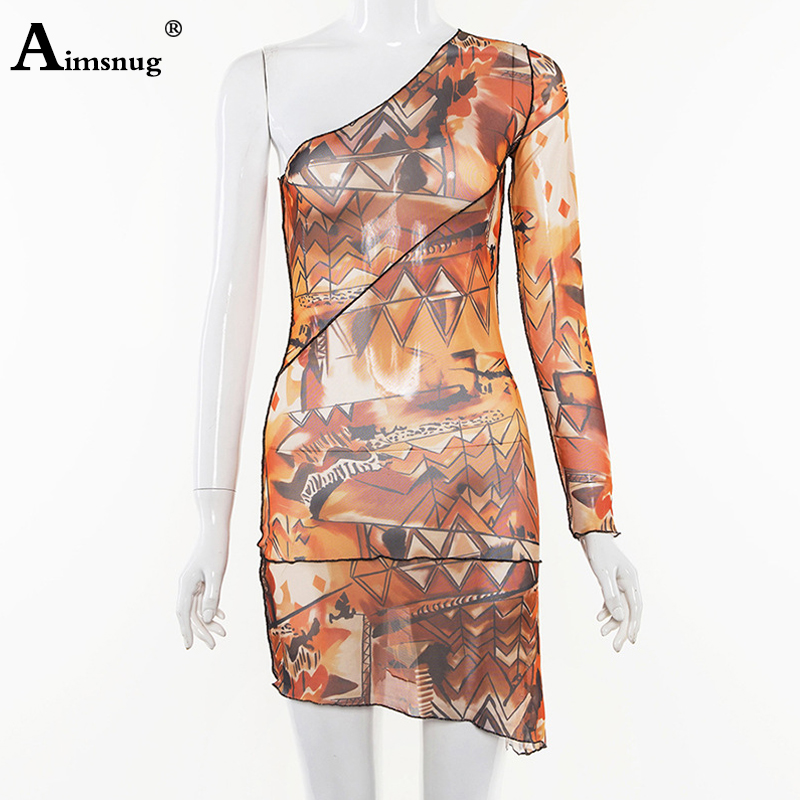 Aimsnug Female The Dress One Shoulder Abstract Print Streetwear 2019 New Summer Women 39 s Short Dress vestidos in Dresses from Women 39 s Clothing
